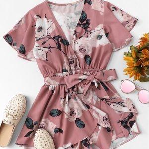 Dresses & Skirts - 🆕 HOST PICK NWOT pink floral romper w/ tie panel